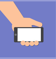 hand holds a smart phone in horizontal position vector image