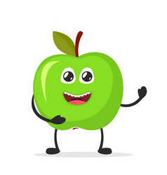 happy smiling apple funny fruit concept flat vector image