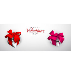 happy valentines day realistic gift box with red vector image