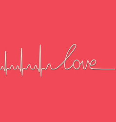Heartbeat pulse text word love calligraphic line vector