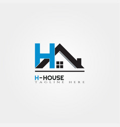 House icon template with h letter home creative vector