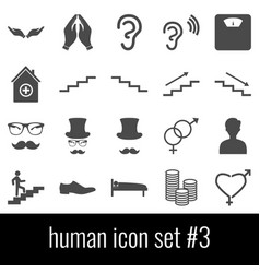 human icon set 3 gray icons on white background vector image