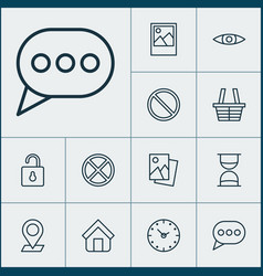 internet icons set with trading basket clock vector image
