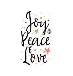joy peace love holiday banner - new year slogan vector image