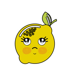 Kawaii nice thinking lemon icon vector