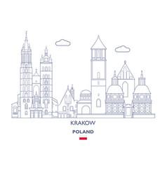 krakow linear city skyline vector image