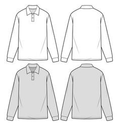 Long sleeve polo shirts fashion flat sketch templa vector