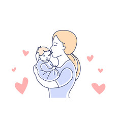 Motherhood mother and child mom kissing a baby vector