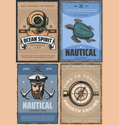 Nautical adventure marine and sea navigation vector