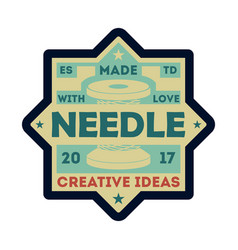 needle atelier vintage isolated label vector image