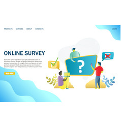 online survey website landing page design vector image
