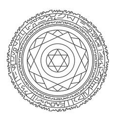 Outline magic spell ring mandala magical circle vector