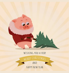 pig with christmas santa red cap new year vector image