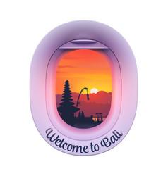 Plane porthole with balinese island sunset vector