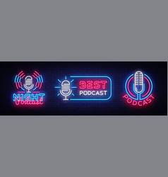 podcast neon sign collection design vector image