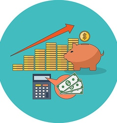 Profitable investment concept Flat design Icon in vector image