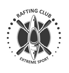 Rafting or kayaking club emblem - canoe kayak icon vector