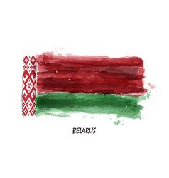 realistic watercolor painting flag of belarus vector image