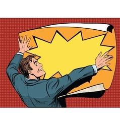 Retro man unfolds a poster vector