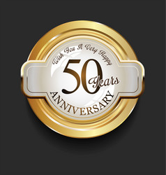 Retro vintage style anniversary golden design 50 vector