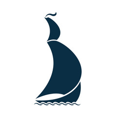 Sailing ship on waves logo for a travel agency vector