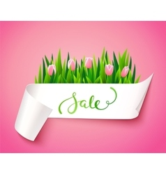 sale label with flowers vector image