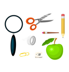 School supplies stationery educational backpack vector