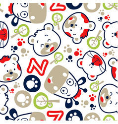 Seamless pattern with funny animals cartoon vector