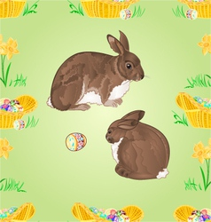 Seamless texture easter rabbits and easter eggs vector image vector image