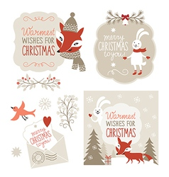 set christmas lettering and graphic elements vector image