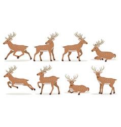 set cute cartoon deer with long horns forest vector image