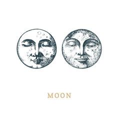 Set moon drawings in retro vector