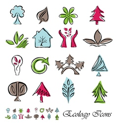 set of 16 ecology icons vector image