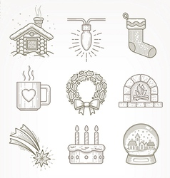 Set of christmas signs and symbols vector