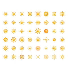 Set of glossy sun images for your design vector