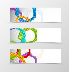 Set of header banner hexagons design vector image