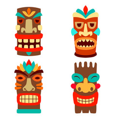 set tiki masks in flat style isolated vector image