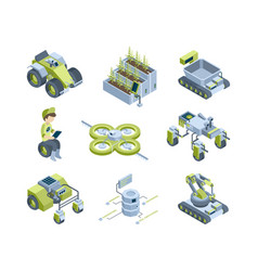 smart agriculture future industrial farm machines vector image