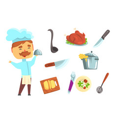 Smiling chef kitchen appliances and different vector
