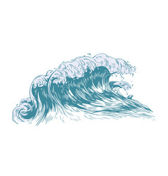 Stylish drawing sea or ocean wave with foaming vector