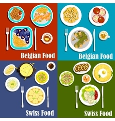 Swiss and belgian cuisine food vector image