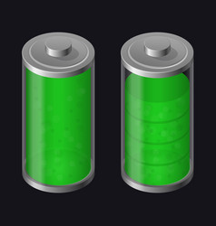 transparent glass battery high charging green vector image