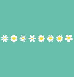 white daisy chamomile set line camomile icon cute vector image