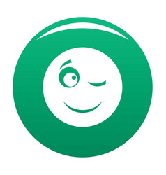 winks smile icon green vector image