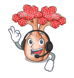 With headphone bottle shaped tree on a cartoon vector