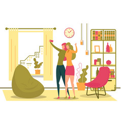 women taking selfie with mobile phone in room vector image
