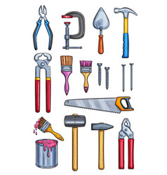 work tools home repair color sketch icons vector image