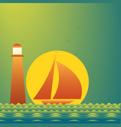 yachts and lighthouse on beautiful place at sunset vector image