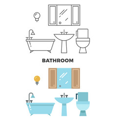 bathroom concept - flat style and line style vector image vector image