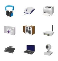 Electronics icons set cartoon style vector
